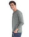 Cherokee Green Slim Fit Patterned Henley T-Shirt