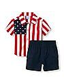 The Children's Place Baby Boy Red  Short Sleeve Stars And Stripes Button-Down Top And Solid Woven Shorts Set