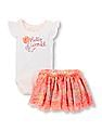 The Children's Place Baby Girls Ruffle Sleeve 'Hello World' 3D Flower Bodysuit And Floral Mesh Skirt Set