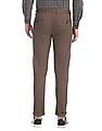 Arrow Sports Brown Slim Fit Cotton Stretch Trousers