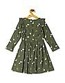 Cherokee Green Girls Floral Print Fit And Flare Dress