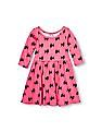 The Children's Place Toddler Girl Elbow Sleeve Printed Skater Dress