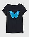 GAP Girls Blue Flippy Sequin Graphic Short Sleeve T-Shirt