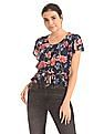 Aeropostale Button Front Floral Print Top