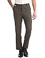 Arrow Newyork Brown Tapered Fit Patterned Trousers