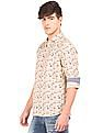 Flying Machine Cutaway Collar Printed Shirt