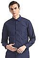 Excalibur Blue French Placket Patterned Check Shirt
