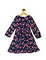 Cherokee Blue Girls Floral Print Fit And Flare Dress
